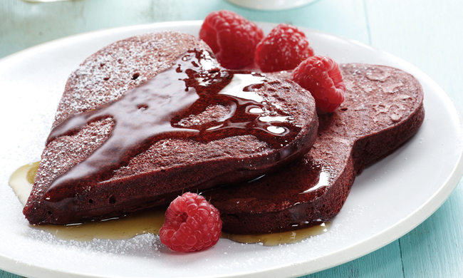 cooking love, breakfast for dinner, chocolate pancakes, recipe, Free Cooking and BBQ Magazine