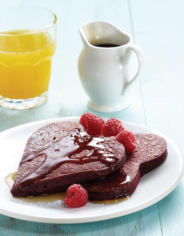 Cocoa-Kissed Red Velvet Pancakes Image With Recipe