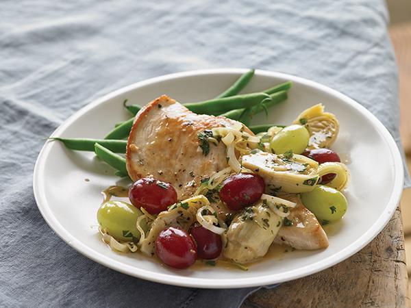 Recipe Seared Chicken Breasts With Grapes And Artichokes