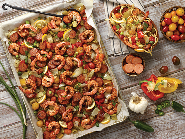 Spicy Sheet Pan Roasted Jambalaya Image With Recipe