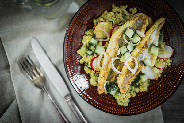 Blackened Catfish with Quinoa and Citrus Vinaigrette Image With Recipe