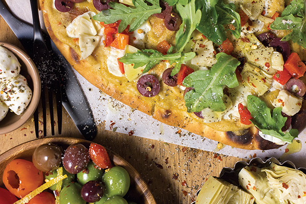 Olive Bar Flatbread Image With Recipe