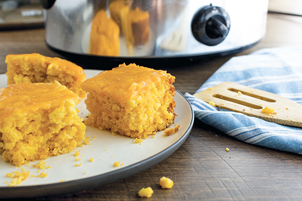 Slow Cooker Cheesy Cornbread Image With Recipe