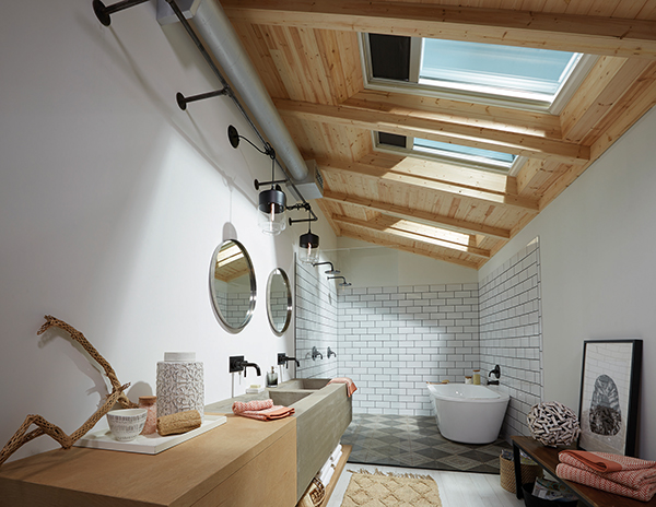 Bathroom with Skylights spring is here Montana Natural wood #liveinmt