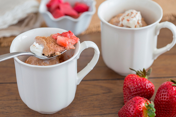 Strawberry Rhubarb Cobbler in a Mug