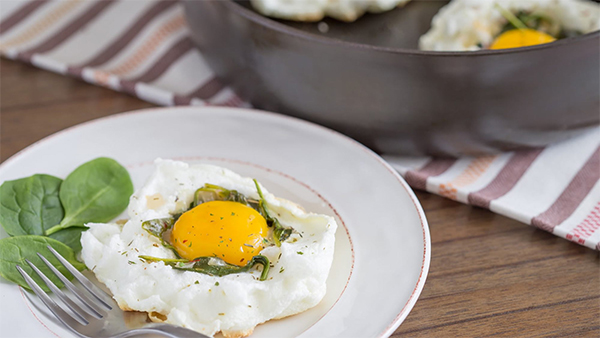 Spinach and Shallot Egg Clouds