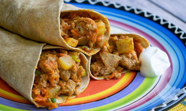 Quick Turkey-Potato Dinner Wrap Recipe