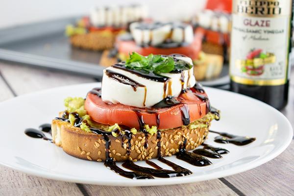 Caprese Avocado Toast with Balsamic Glaze