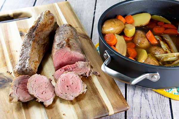 Pan-Roasted Pork Tenderloin with Roasted Vegetables and Apples