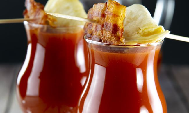 Pumped Up Bloody Mary with Bacon and Pierogees!