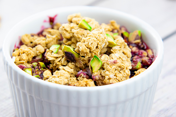 Ricotta with Four-Berry Compote, Pistachios and Granola