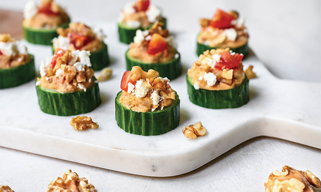 Heart Healthy: Greek Cucumber Walnut Bites Recipe