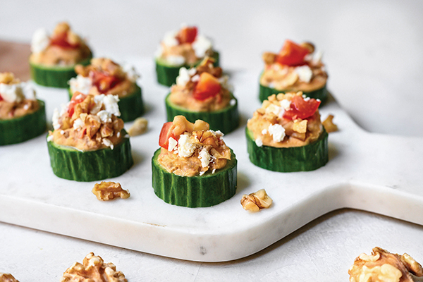 Greek Cucumber Walnut Bites Recipe,heart healthy recipes,appetizer recipes,recipes using walnuts,essential nutrients, Free Cooking and BBQ Magazine
