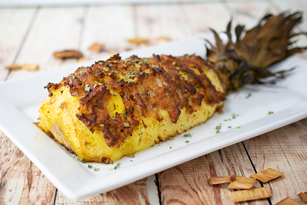 Smoked Hasselback Pineapple with Spiced Turkey Chorizo and Onion recipe,unique smoked recipes ideas,Smoked Fruit Reverse Meatloaf, Free Cooking and BBQ Magazine