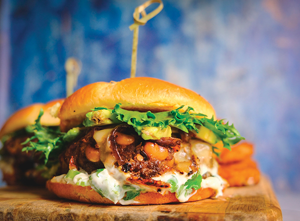 Green Chili Jack Smash Burgers & Cuban Black Beans