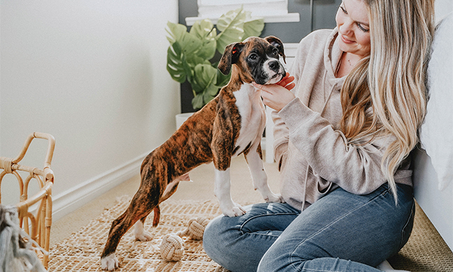 woman with pet dog