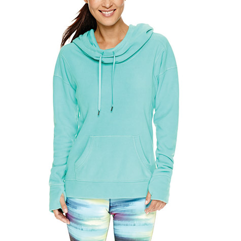 Xersion Long Sleeve Cowlneck Hooded Fleece Pullover